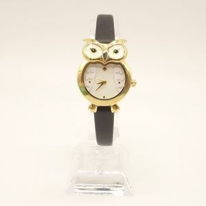 NWT KATE SPADE Owl Watch Black Leather  KSW1385